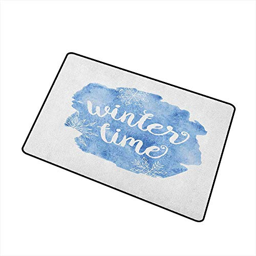 Wang Hai Chuan Winter Inlet Outdoor Door mat Winter Time Typographic Design Hand Drawn Style Phrase Blue Watercolor Spot Print Catch dust Snow and mud W31.5 x L47.2 Inch Blue White