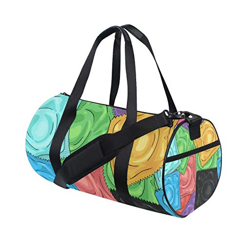 (LONSANT Color Cartoon Condoms Barrel Duffel Bag Sports Yoga Gym Fitness Bag Travel Weekender Bags for Men and)