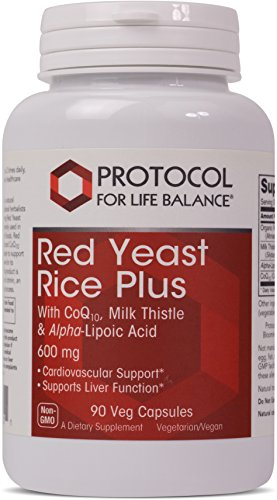 Protocol For Life Balance - Red Yeast Rice Plus 600 mg - with CoQ10, Milk Thistle & Alpha-Lipoic Acid to support Cardiovascular and Liver Function - 90 Veg Capsules