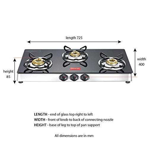 Amazon Com Prestige Marvel Plus Stainless Steel 3 Burner Gas Stove Black Kitchen Dining