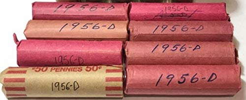 1956 D Lincoln Wheat Cent Roll (50 Coins) Brilliant for sale  Delivered anywhere in USA