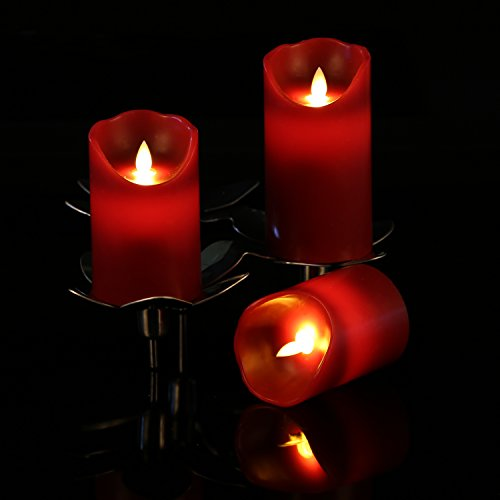 Flameless Candles 4″ 5″ 6″ Set of 3 Burgundy Color Real ...