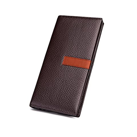 RFID Blocking Brown Genuine Grained Leather Durable Credit Card Bifold Wallet Case For Men Long - Bi Fold Checkbook Wallet