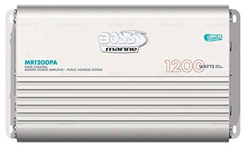 - Boss MR1200PA 1200 Watt 4 Channel Marine Power Amplifier w/ PA System Microphone