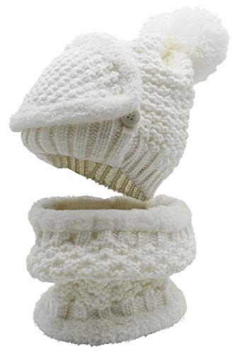 3-Pieces Winter Hat Scarf Mask Set Thick Knit Hat Warm Snow Ski Skull Cap for Men Women, White