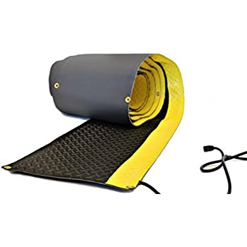 RHS Heated Walkway, non-slip snow melting mat, diamond shape design for extra traction, safety bright yellow edge, color black, Helps Prevent Shoveling your walkway, Buy Factory Direct (15