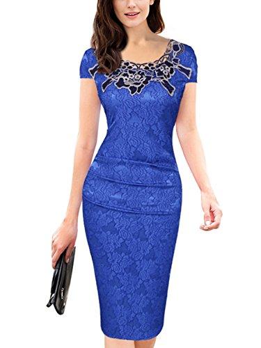 Women's Classy Neck Detail Short Sleeve Zip-up Midi Dress (Royal Blue,3XL)