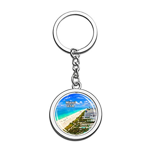 USA United States Keychain Beach Miami Key Chain 3D Crystal Spinning Round Stainless Steel Keychains Travel City Souvenirs Key Chain Ring (Shopping Miami Beach)