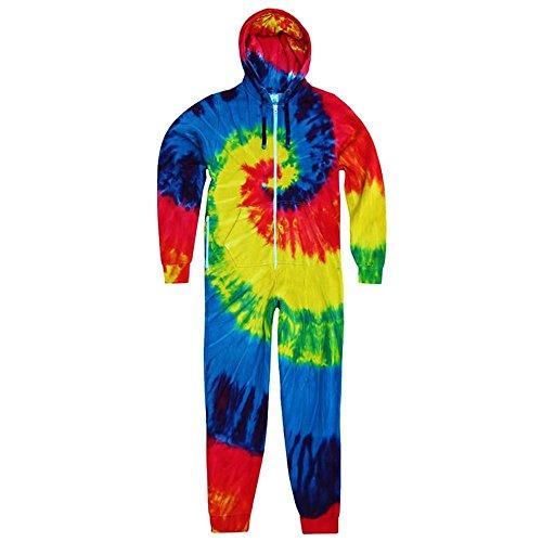 Colortone Unisex Adults Full Zip Rainbow Tie Dye Onesie (LXL) (Rainbow) (Cotton Rainbow Jersey)