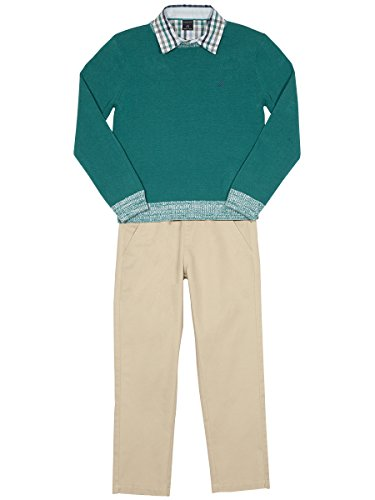 Nautica Toddler Boys' Three Piece Set with Sweater, Woven Shirt, and Twill Pant, Teal, (3 Piece Set Sweater Shirt)