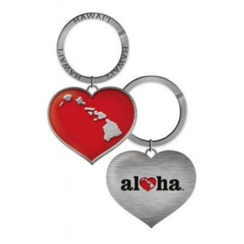 Heart of Hawaii Heart Metal Keychain