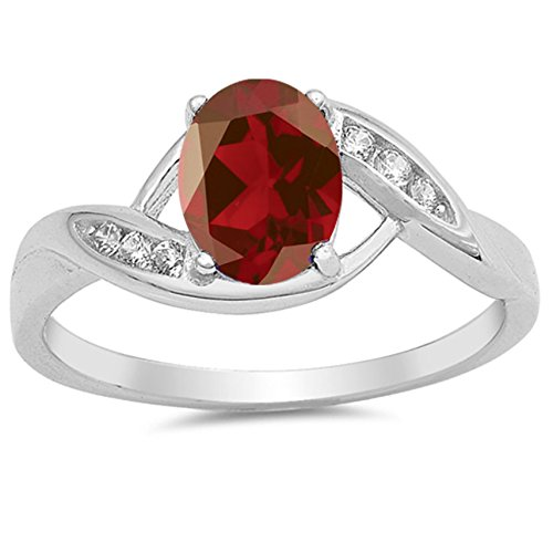 925 Sterling Silver Faceted Natural Genuine Red Ruby Oval Ring Size 7