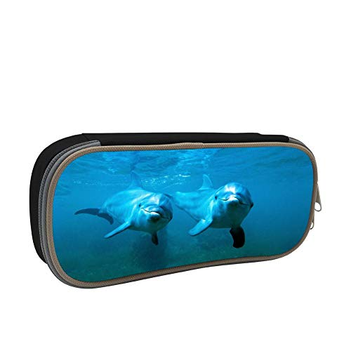 - 123zoehome Dolphin Porpoise Pencil Box Big Capacity Pen Holder Original School Students Stationery Double Zipper Durable Multipurpose Office Storage Makeup Pouch Buggy Bag Black