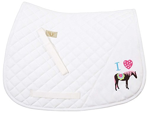 TuffRider I HEART Pony Girls Saddle Pad | Diamond Quilting Horse Riding Saddle Pad for Young Riders | (Tuffrider Pony)