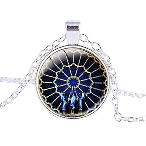 (Rose Window Stained Glass Pendant Necklace,Multi Pattern Fashion de Paris Cathedral Clavicle Chain)