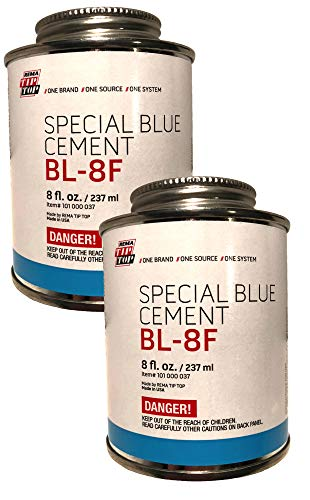 Rema Two 8 oz. cans of BL-8F Special Blue Cement USA Rubber Bonding Tip Top