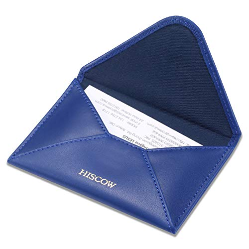 HISCOW Envelope Business Card Case with Magnet Closure - Italian Calfskin (Electric Blue)