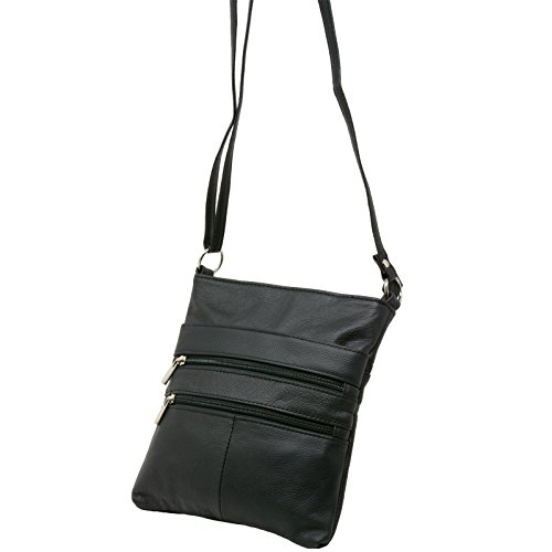 Handbag Genuine Black Purse Zippered Organizer Travel Leather Bag Purse Shoulder Mini qw1PI