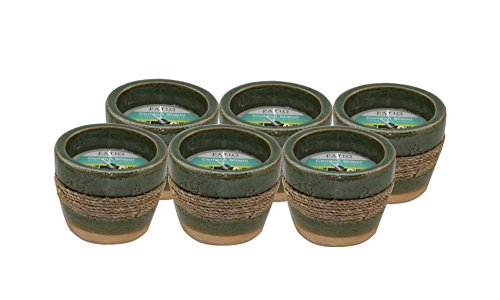 (Pack of 6) Patio Essentials 8 oz. Citronella Candle In Natural Terra cotta Holder with straw accent, Deet-Free Insect (Terra Cotta Citronella Candle)