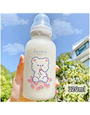 Water Cup Cute Cartoon Strawberry Bear Glass Pacifier Water Bottle Straw Cup for Adult Children Milk Frosted Bottle Baby Feeding Bottles Travel Mugs