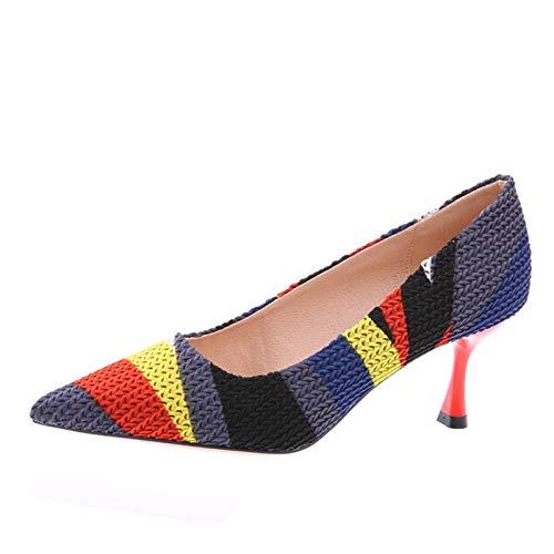 FLYRCX Frühling und Herbst im europäischen Stil farbig gewebt Stöckelschuhe spitz farbig Stil Passenden Stiletto flachen Mund Einzelne Schuhe Damen Arbeitsschuhe d99541