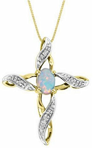 Diamond & Opal Cross Pendant Necklace Set In Yellow Gold Plated Silver .925