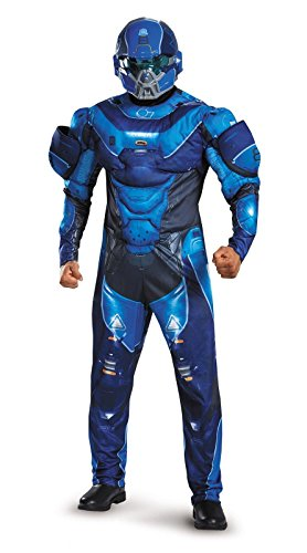 [Disguise Men's Halo Spartan Muscle Costume, Blue, Medium] (Full Halo Costumes)