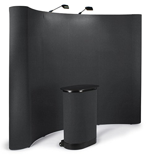 (Displays2go 10-Feet Curved Pop-Up Trade Show Portable Display Booth with Podium Travel Case - Black (TEPUVF10BK))