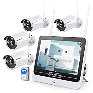 "【2TB Hard Drive】SMONET All in One with 12"" Monitor 3MP Security Camera System Wireless,8-Channel Outdoor Home Camera…"