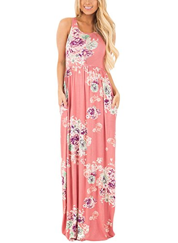 Jug&Po Women's Floral Print Sleeveless Long Maxi Casual Dress (Large Pink)