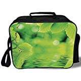 Insulated Lunch Bag,Leaves,Leaves in Water Spa Open Your Chakra with Nature Meditation Ecological Monochrome Photo,Green,for Work/School/Picnic, Grey