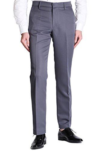 Vero Viva Men's Straight Leg Fit Flat Front Dress Pants Business Casual Trousers(34W32L,Grey) ()