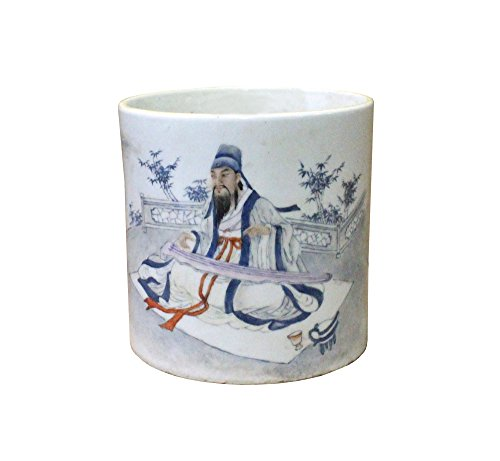 Chinese Off White Porcelain People Graphic Brush Holder Pot Acs3799
