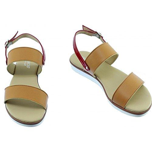 Aerobics Cuir Marque Beige Chaussures Arrière Bride Et Tumb Sandale fUZBqw