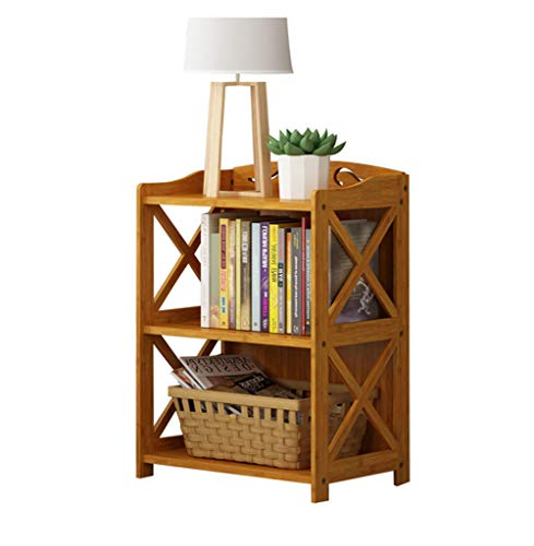 (QIANGDA Bookshelf Bookcase Bamboo Floor Standing Display Shelving Easy Assembly Cross-Over Design, 3 Sizes (Size : 50 x 29 x)
