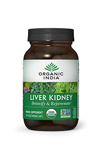 ORGANIC INDIA Liver Kidney Supplement, 90 Veg Caps (Tulsi Cleanse Daily Liver & Kidney Support)