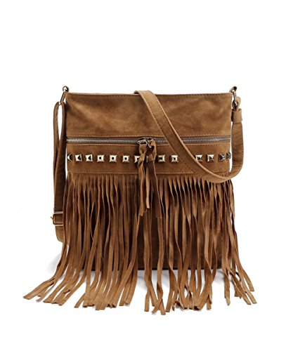 RARITY-US Women Faux Suede Crossbody Shoulder Bag Fringe Weave Tassel Messenger Handbag