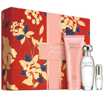 Estée Lauder 'Pleasures' to Go 3 Pcs Gift Set - Pleasures Eau De Parfum Spray (1.7 Oz.) +Body Lotion (3.4 Oz.) + Mini Eau De Parfum Spray (0.14 Oz)
