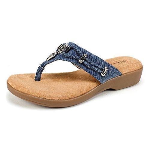 Dark Denim Footwear (RIALTO Women's Bailee Thong,Dark Blue Denim Fabric,US 7.5 M)