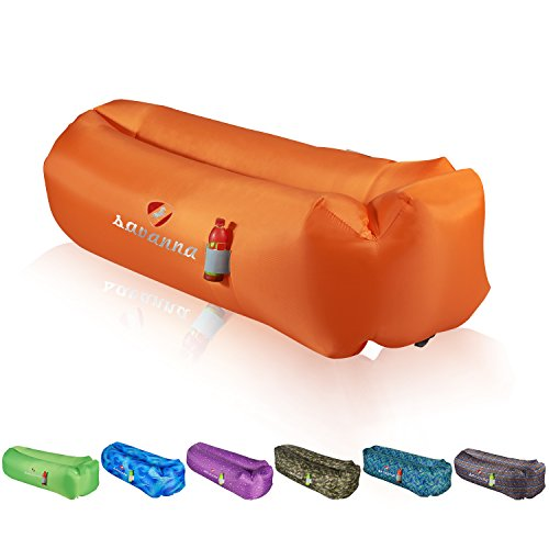 Price comparison product image savanna Inflatable Lounger Lazy Sofa Bed,  Portable Air Beds Sleeping Sofa Couch with Headrest,  Securing Stake,  Waterproof & Leak-Resistant Perfect for Outdoor Travelling,  Camping