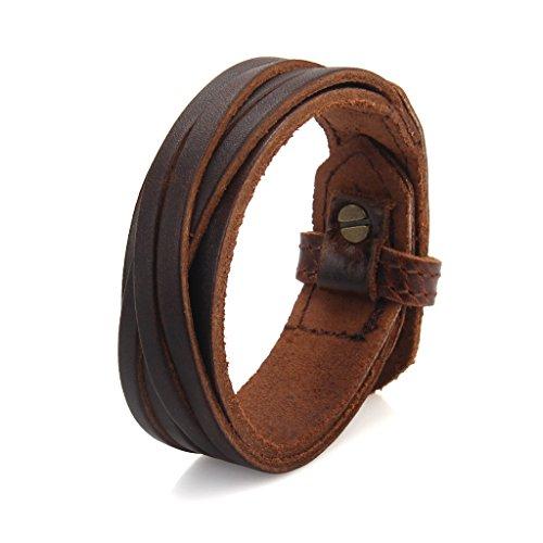 "Womens Mens Coffee Genuine Leather Cuff Bracelet Handmade Slim Braided Belt Bangle Punk Rock Sports jewelry Bracelets, Fits 7.5"" to 9"""