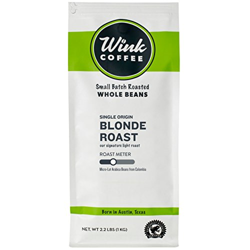 Wink Coffee Blonde Roast, Whole Bean Coffee, 100% Arabica, 12 oz Bag, Colombian Single Origin, Smooth, Light, and Complex, Sustainable Sourcing ()