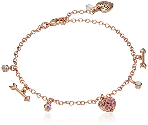 Betsey Johnson Women's Rose Gold Candy Heart Anklet, Fuchsia