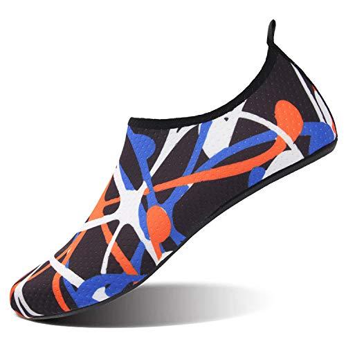 JIASUQI Womens Mens Barefoot Beach Water Swimming Shoes Socks Multi Graffiti US 11-12 Women, 9.5-10 Men