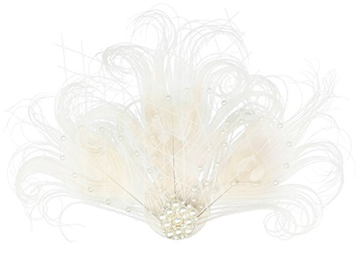 Zivyes 1920s Peacock Feather Costume Hair Clip Flapper Headpiece Hat Accessory (J-Apricot)