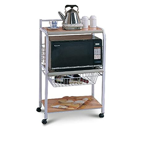 white wood u0026 metal kitchen server kitchen microwave cart