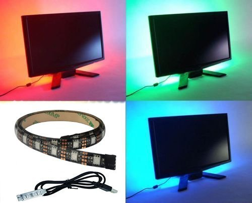 Aled light® led light strip multi color rgb 50cm 19.7in per tv a