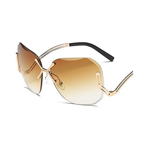 pierna de UV de de tamaño Gafas para sol lente la Gu la ULTRAVIOLETA especial las la sin Gafas marco de de Peggy la gran de sol Marrón personalidad viajando de conducir para con señora protección mujeres 64HnI5fqwq