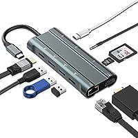 「2020最新版」 USB C ハブ IVSO Type c HUB ドッキングステーション イーサネット 変換アダプタ【1Gbps LANポート/4K HDMI VGA同期出力/60W...