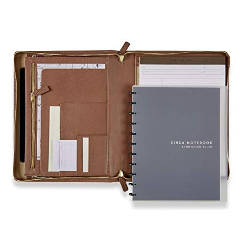 - Levenger Rose Taupe Ambi-Flex Folio - Leather Zippered Business Portfolio with Discbound Notebook & Notepad, Right & Left Handed Padfolio, 11-Disc, 10.5